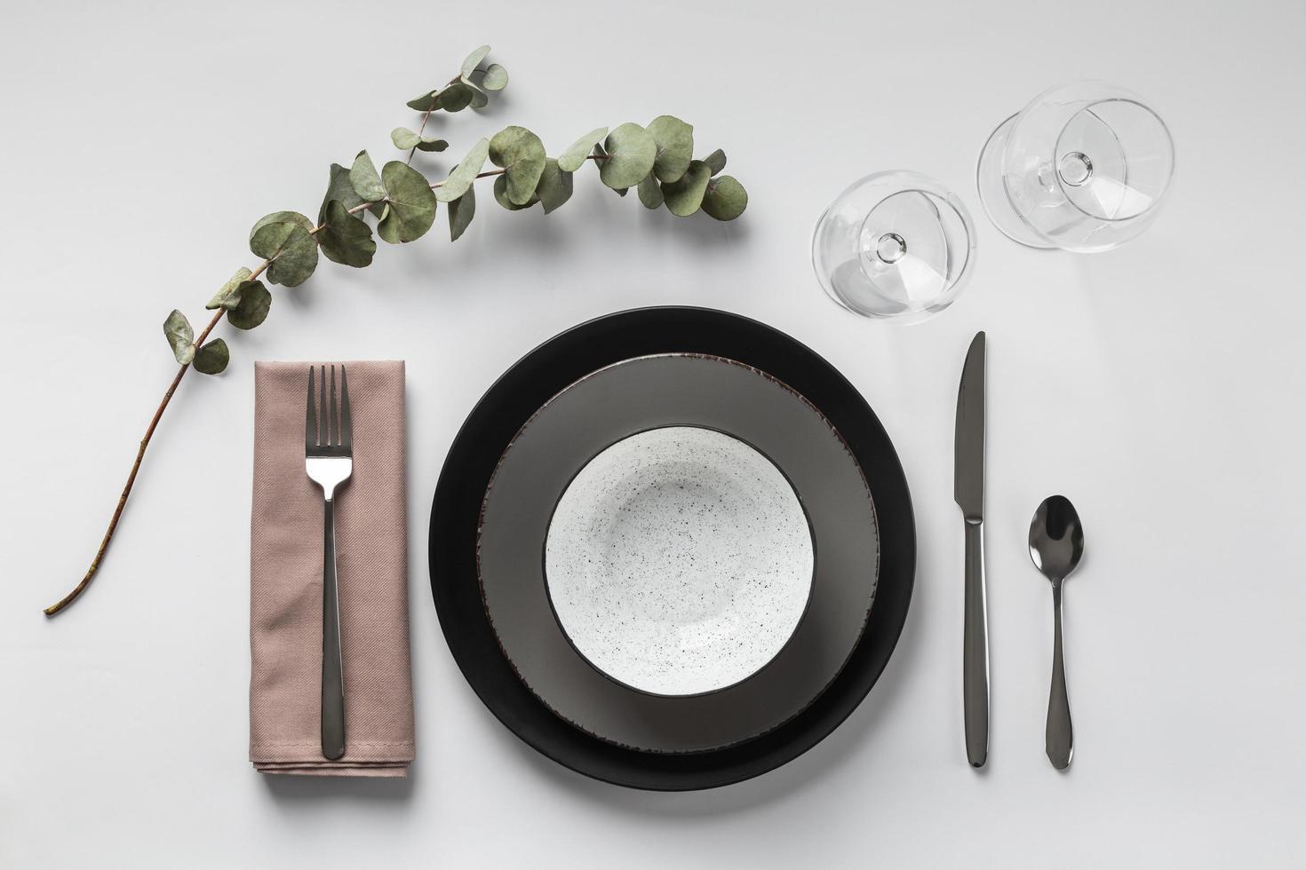 arranjo da mesa com planta acima da vista foto
