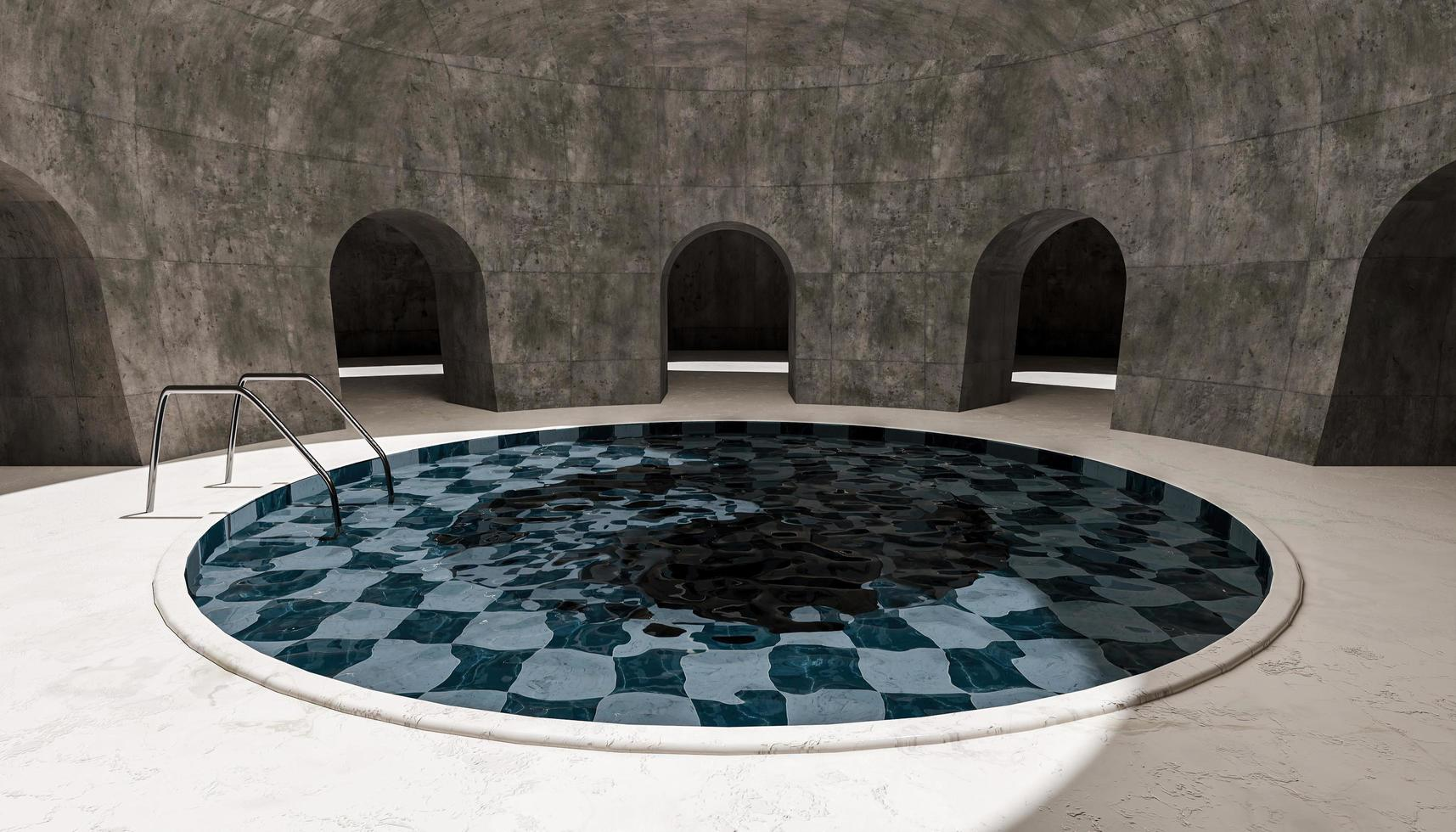 piscina redonda em uma sala vazia foto