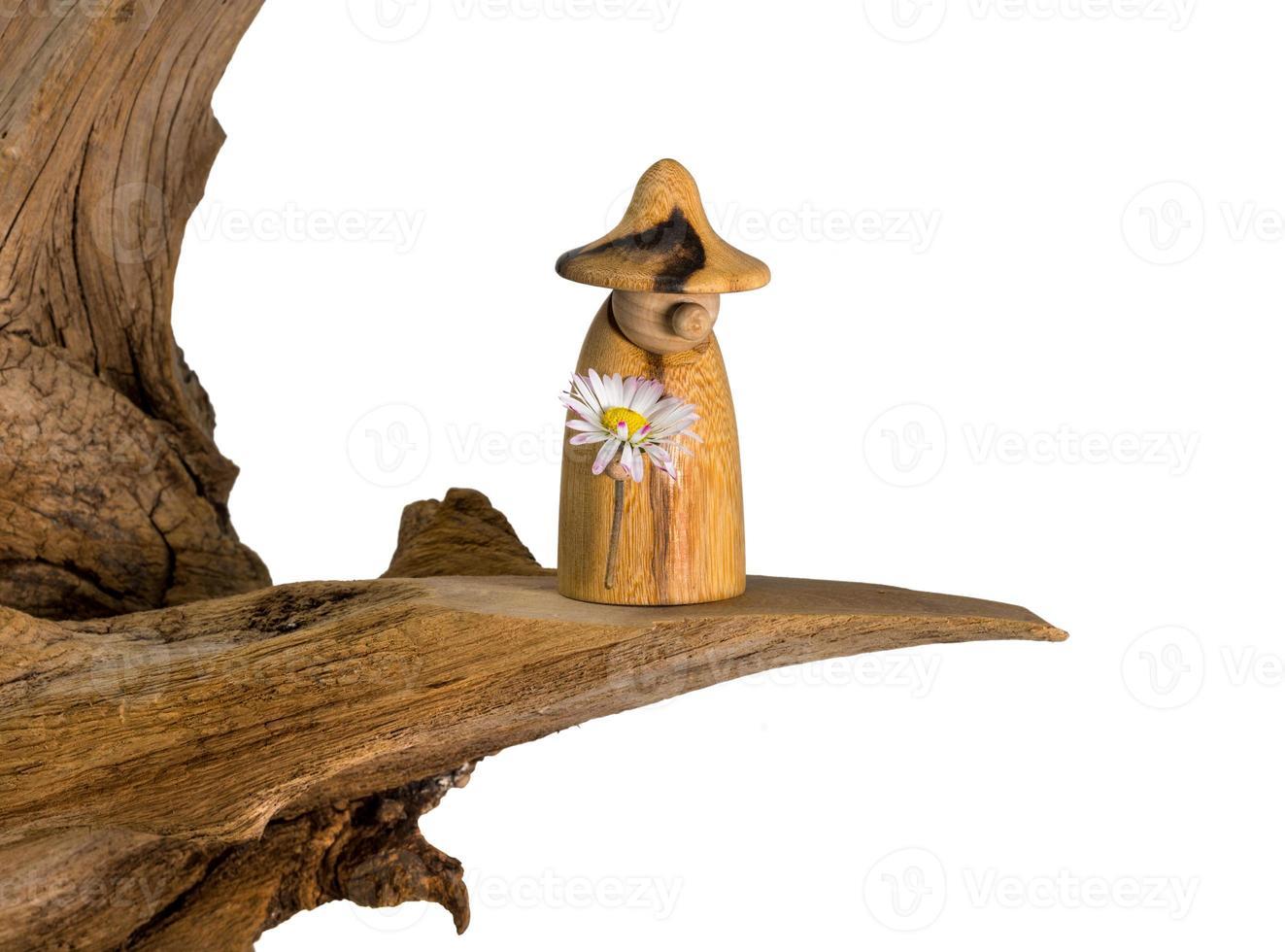 gnomo da floresta virado com uma margarida na mão fica em um velho toco de árvore foto