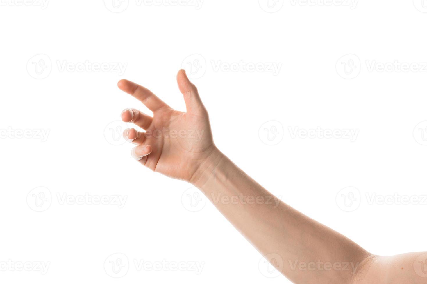 mão do homem segurar, agarrar ou pegar algum objeto, gesto com a mão. isolado no fundo branco. foto