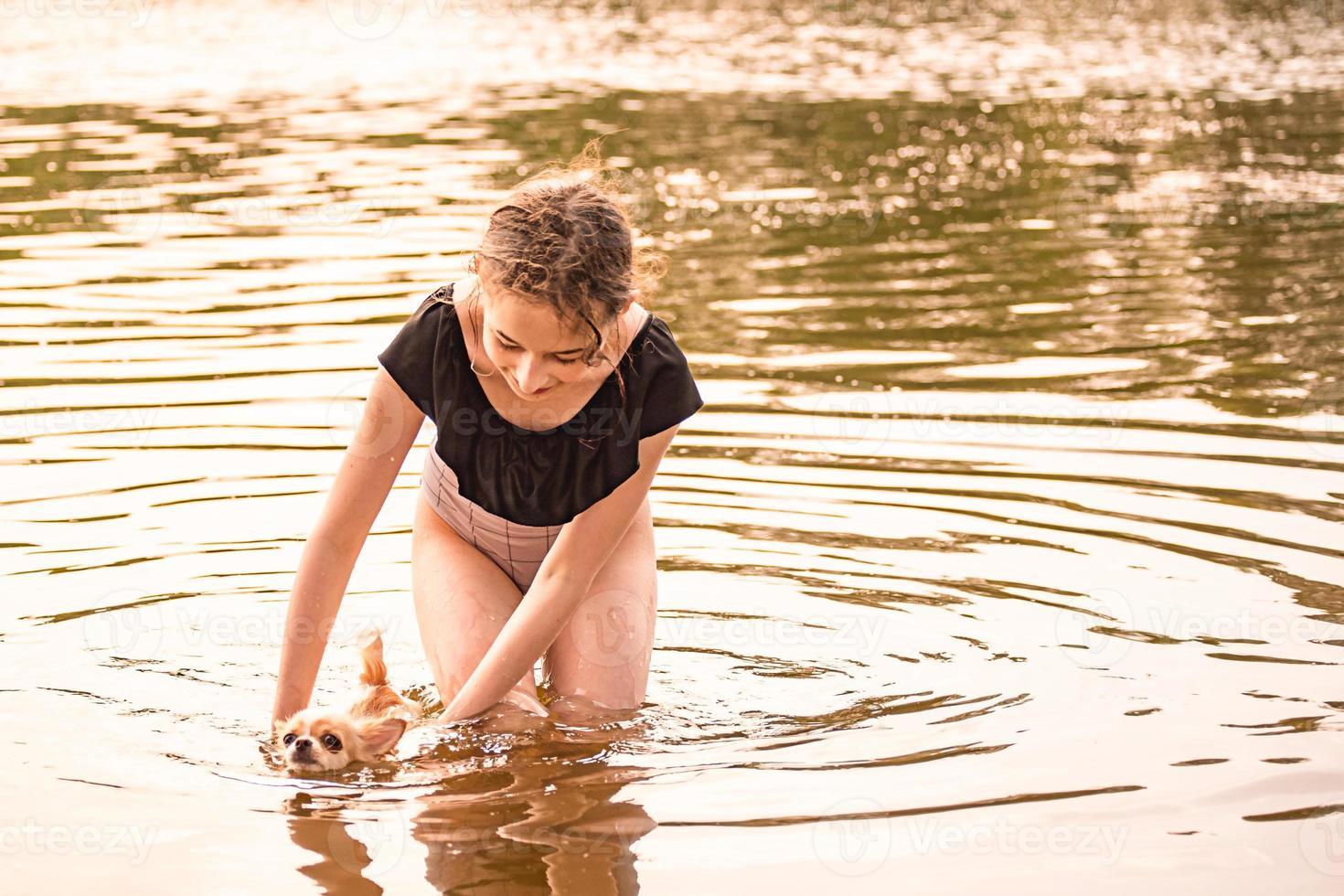 retrato de uma jovem, com seu chihuahua. cachorrinho fofo. menina e um cachorrinho. menina rio foto