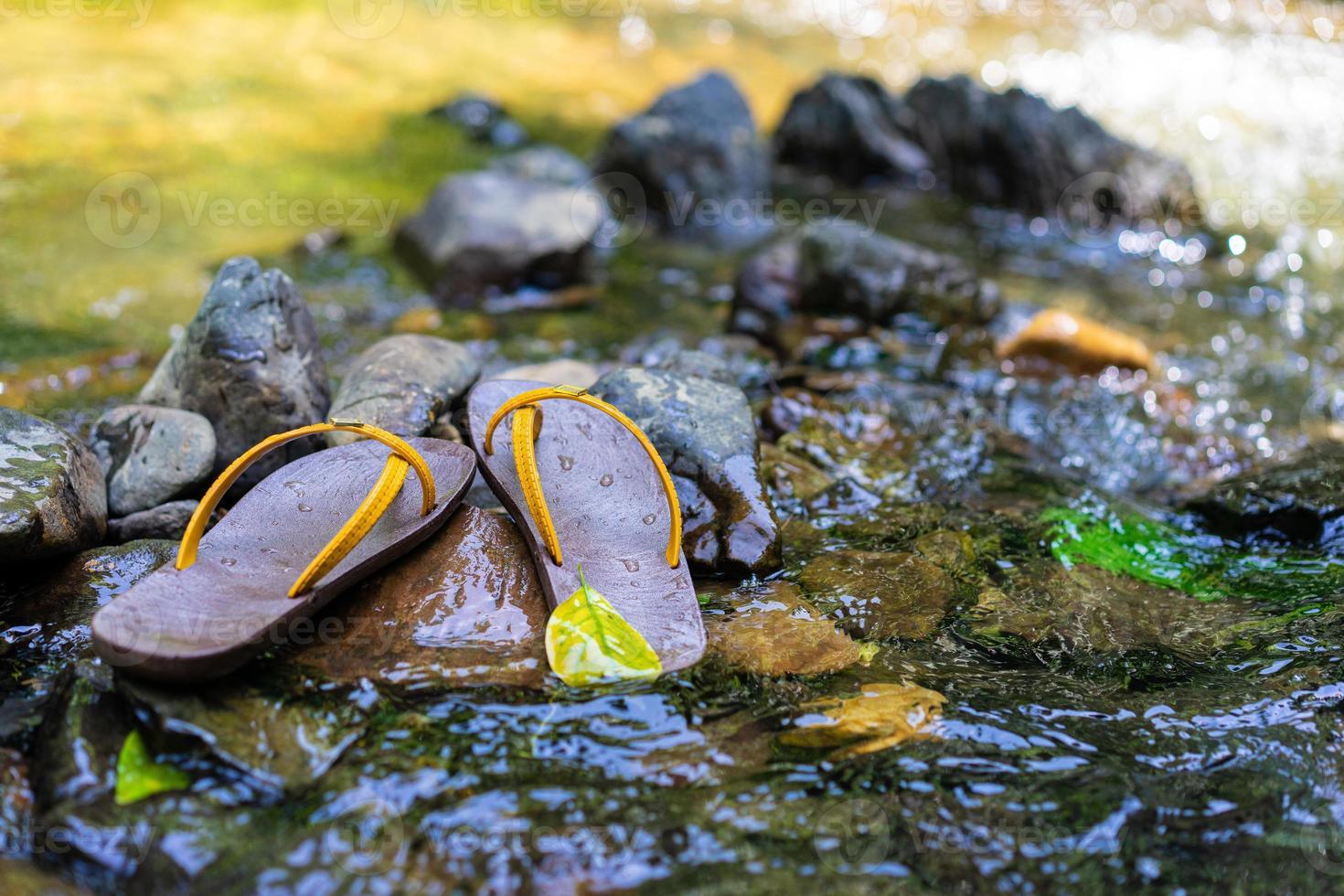 chinelos foram colocados na rocha na água foto