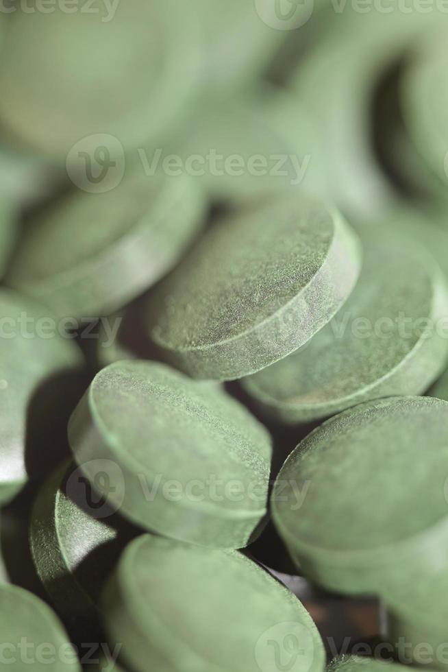 comprimidos close up médico spirulina platensis algae family algaespace foto