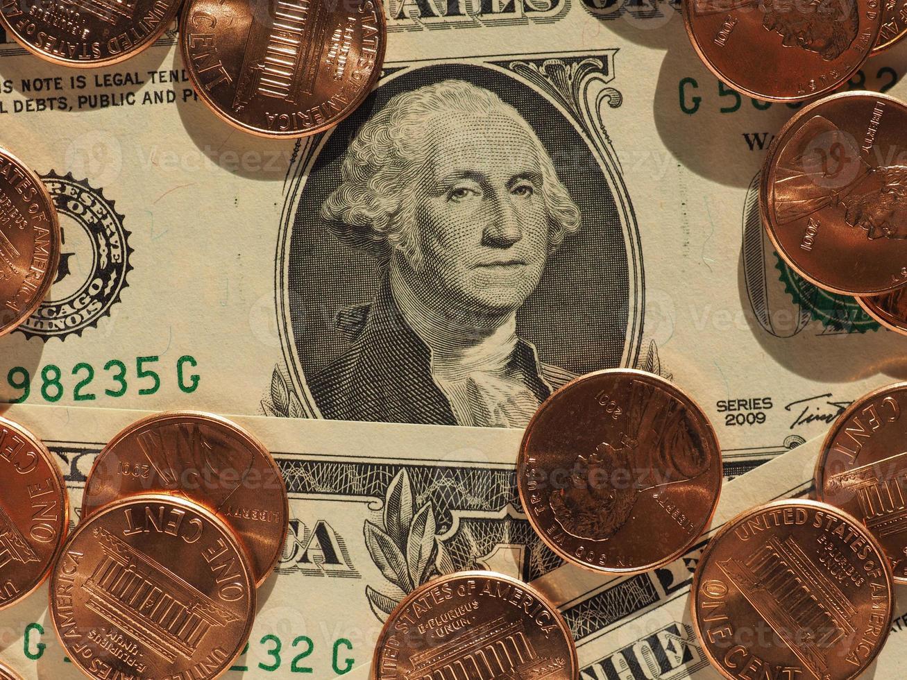 notas e moedas de dólar, estados unidos foto