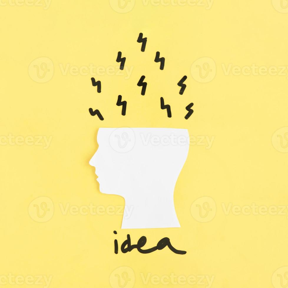 ideias saindo do cérebro recortado foto