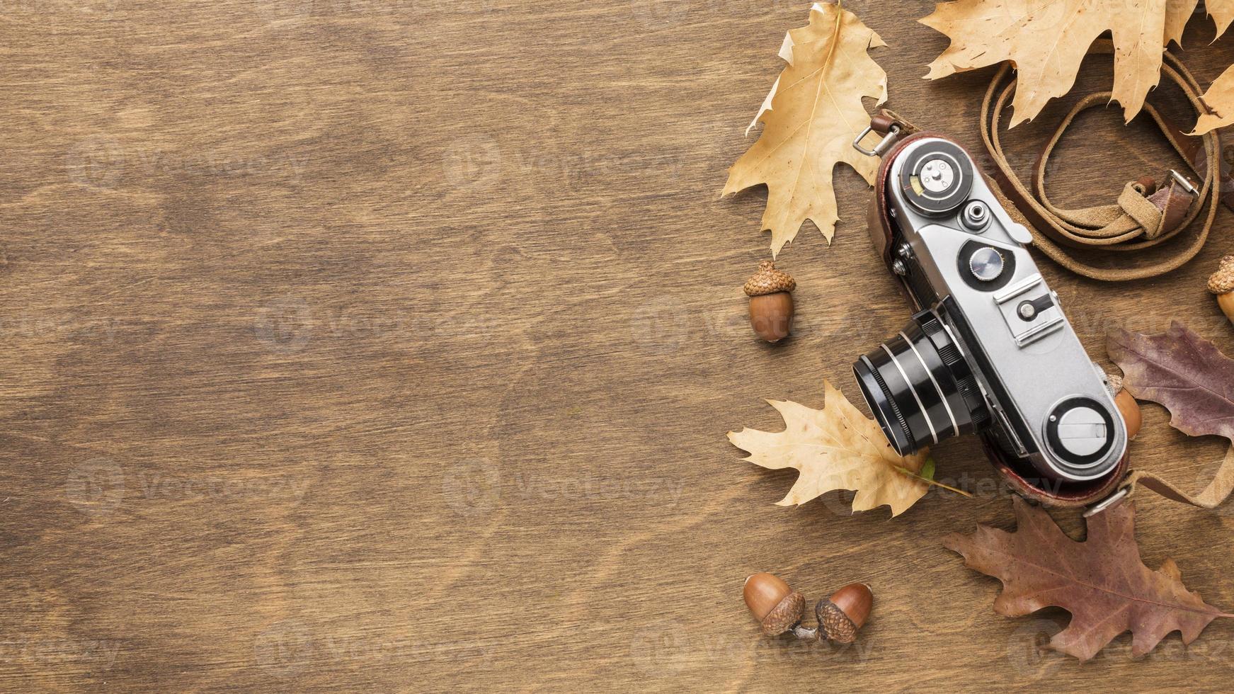 câmera com folhas de outono e espaço de cópia foto