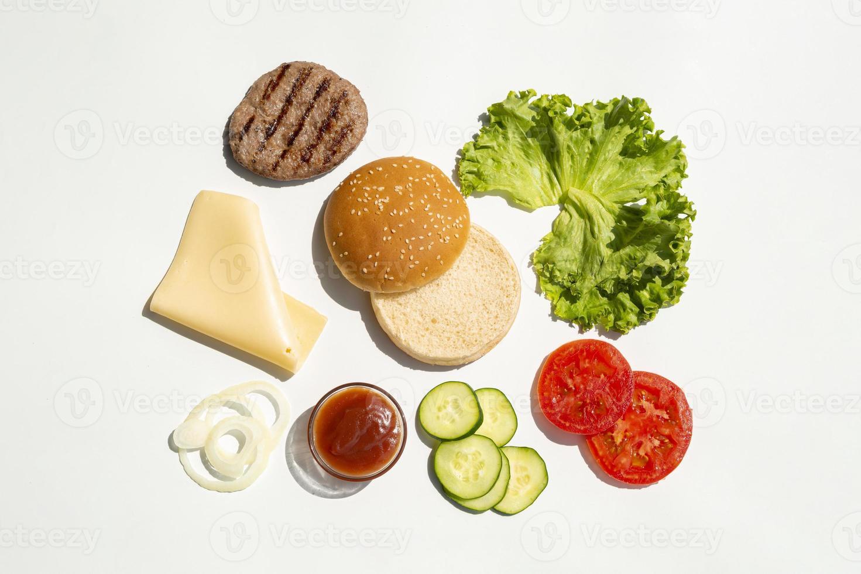 ingredientes de hambúrguer simples foto