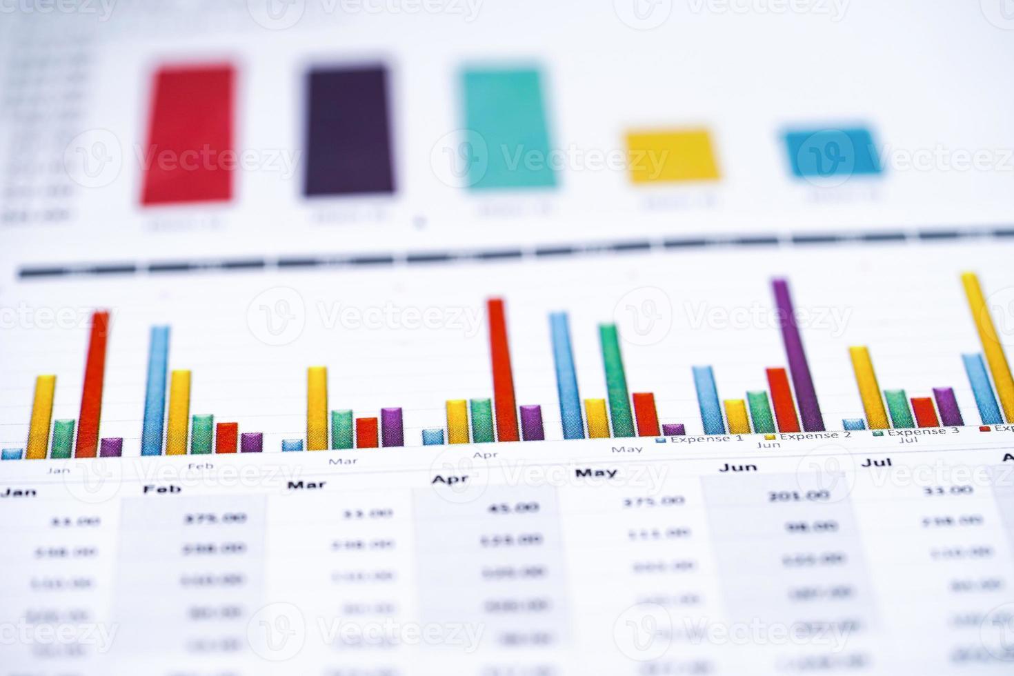 hart ou papel quadriculado. conceito de dados financeiros, de contas, de estatísticas e de negócios. foto