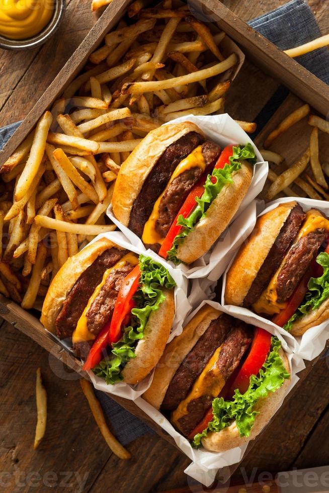 cheeseburgers duplos e batatas fritas foto