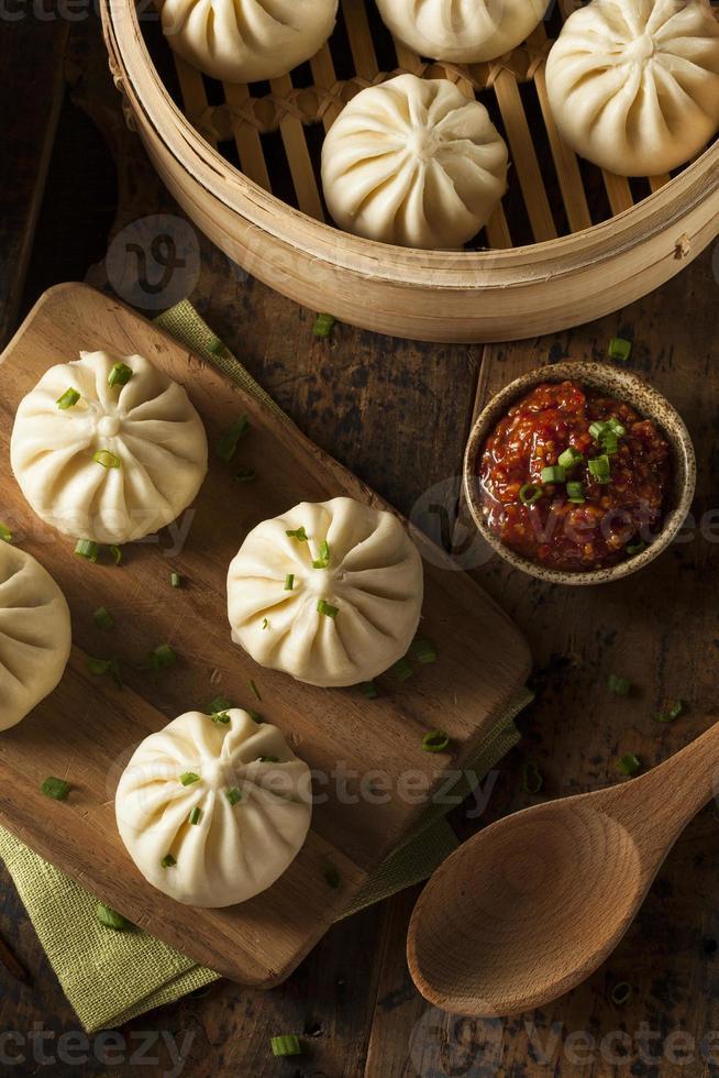 cozido no vapor churrasco de porco pães asiáticos foto