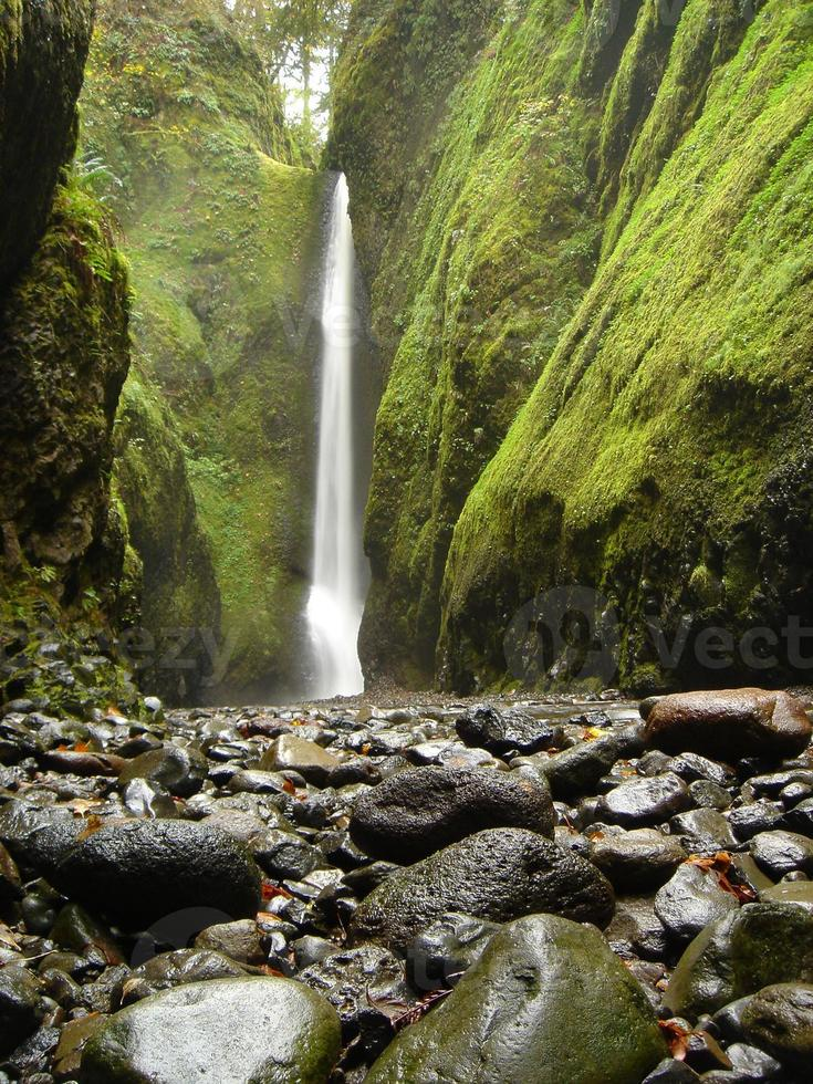 grande cachoeira com pedras coloridas e parede musgosa foto