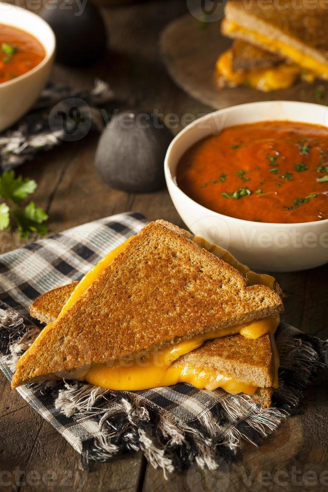queijo grelhado caseiro com sopa de tomate foto