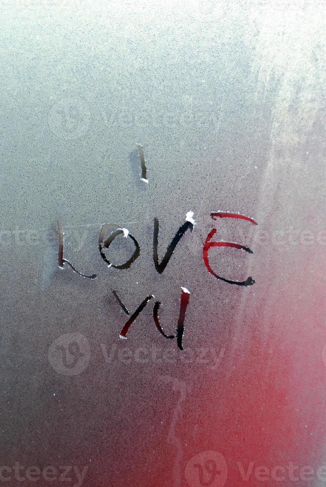 texto mi te amo em uma manhã de geada foto