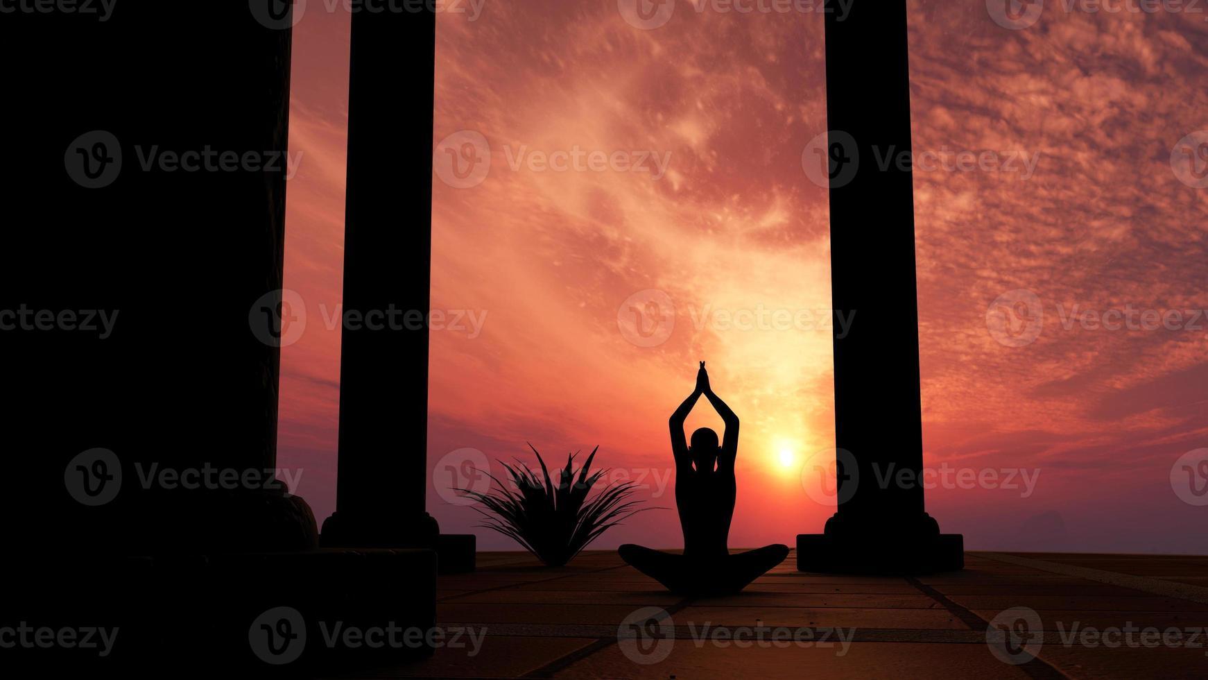 silhueta praticando ioga foto