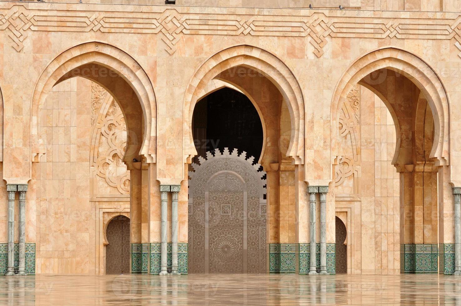 detalhe da mesquita hassan ii em casablanca foto