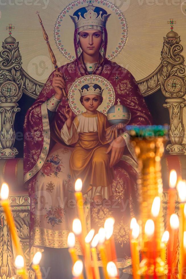 ícone virgem e jesus foto