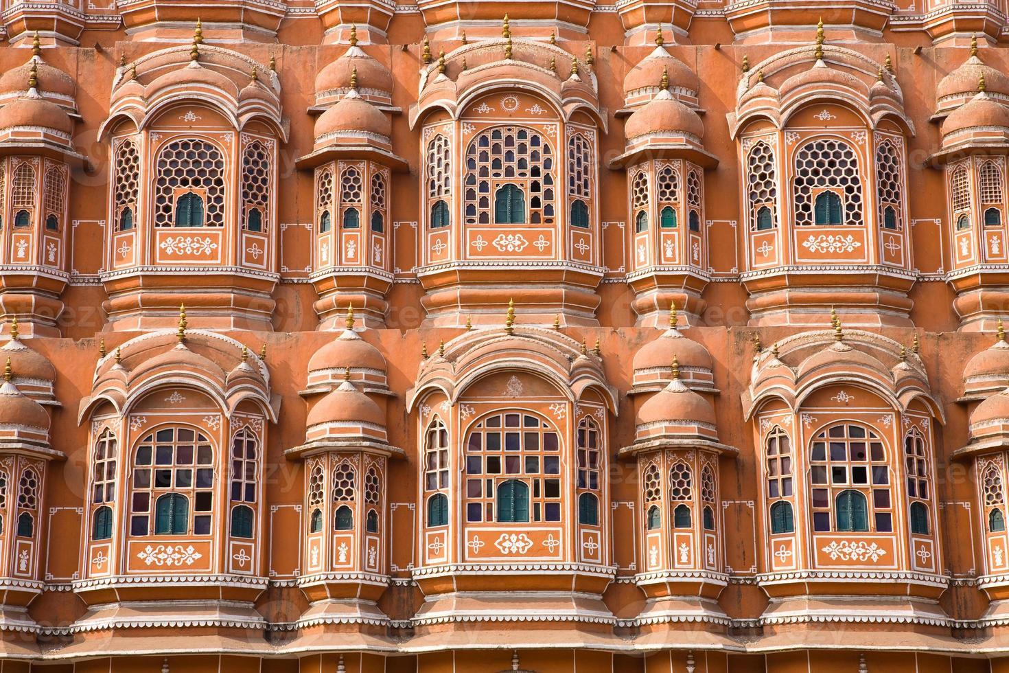 detalhe do palácio dos ventos, jaipur foto