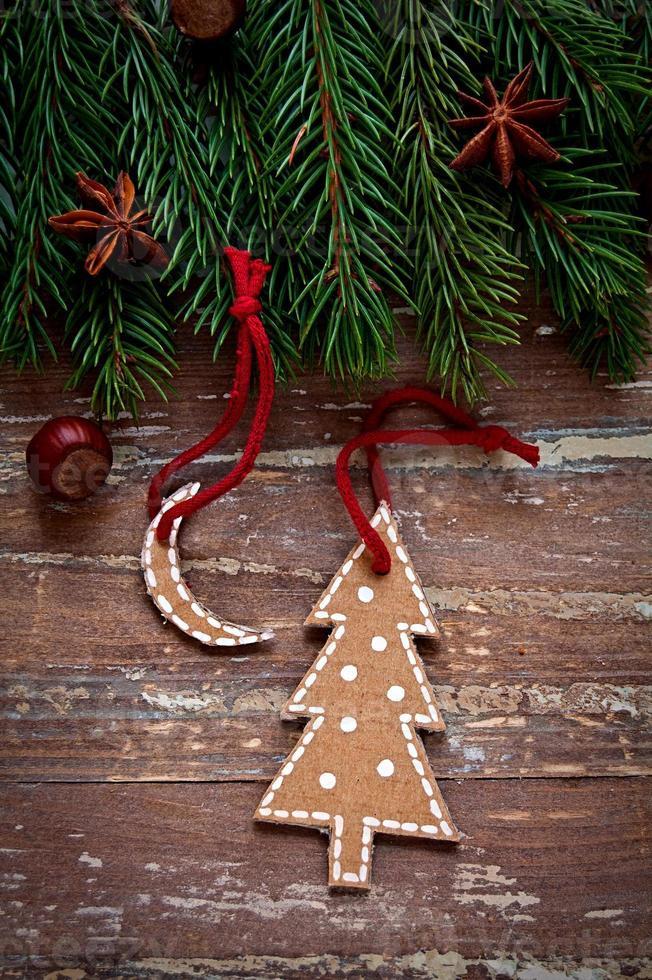 design de fronteira de Natal no fundo de madeira foto