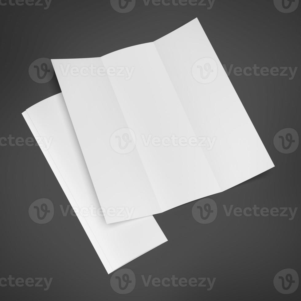 brochura com três dobras em branco foto