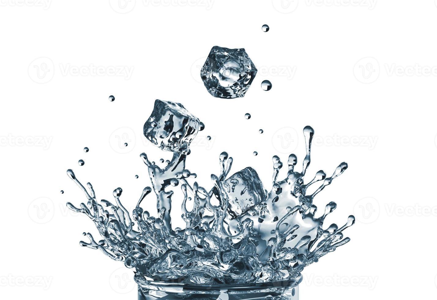 Cubos de gelo 3D caindo no copo de água foto