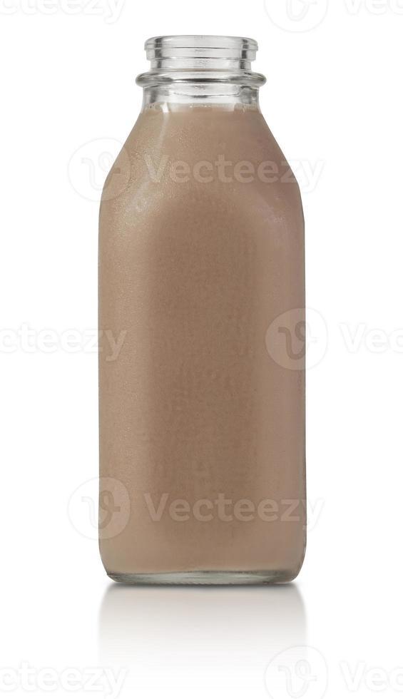 litro cheio de leite com chocolate foto