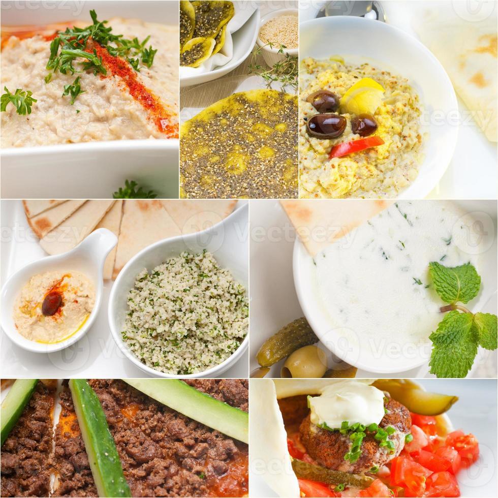 colagem árabe do alimento do Oriente Médio foto