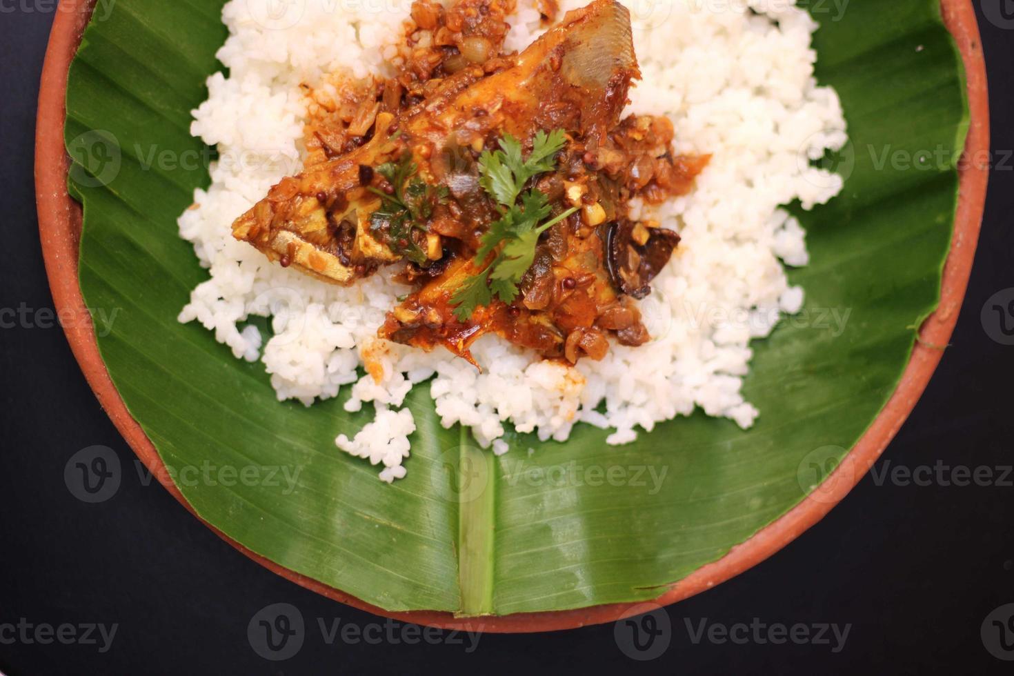 caril de peixe e arroz foto