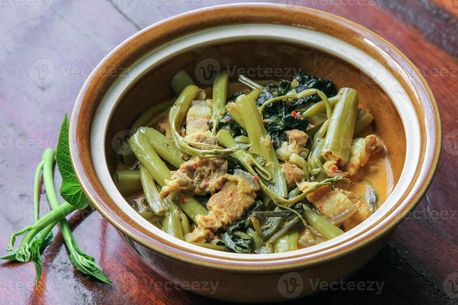 curry de porco com espinafre aquático (sopa tae-pho), curry tailandês, comida. foto