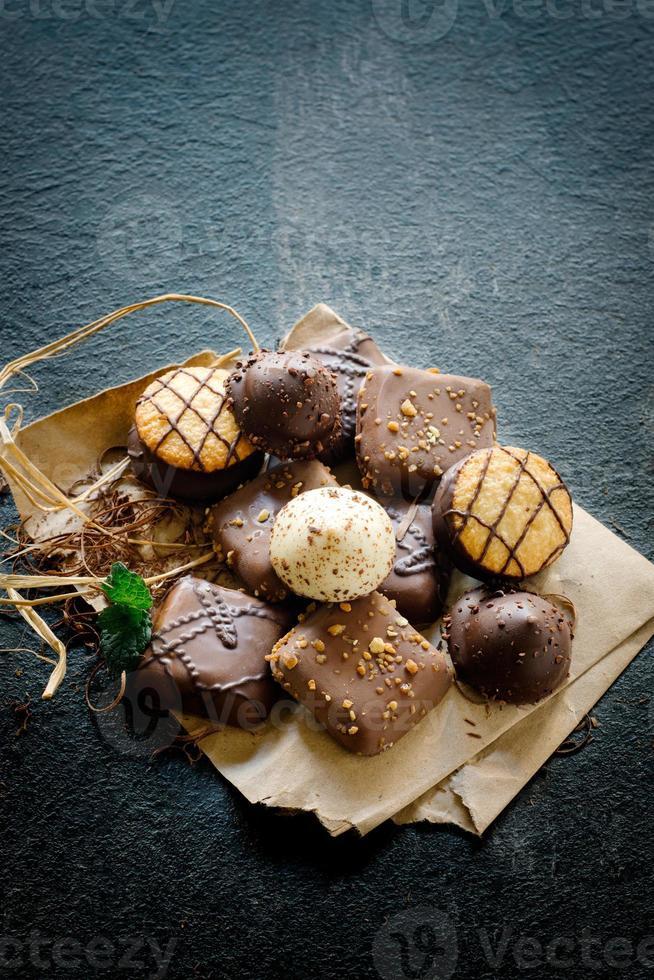 biscoitos de chá de chocolate foto