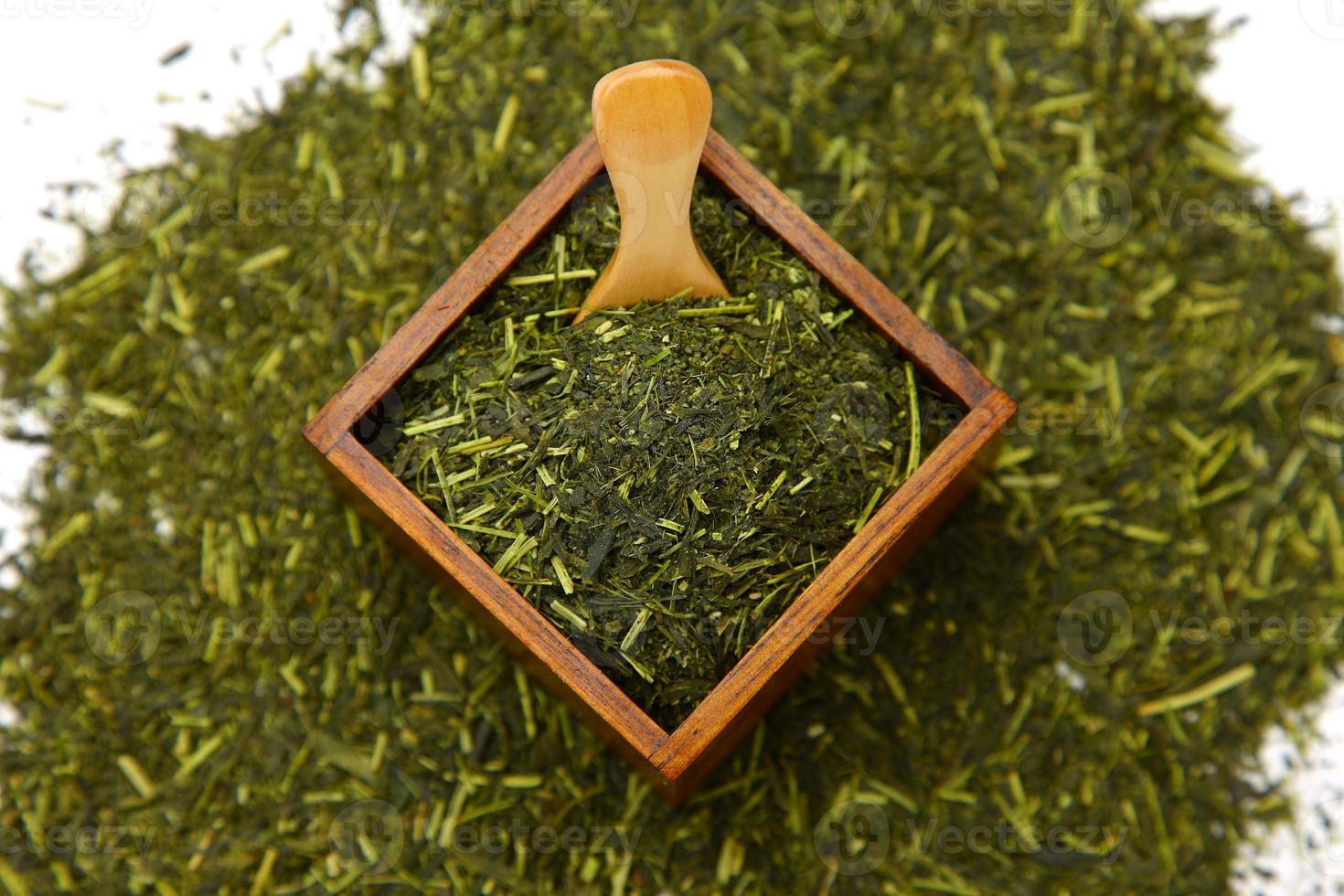 folha de chá verde japonês foto