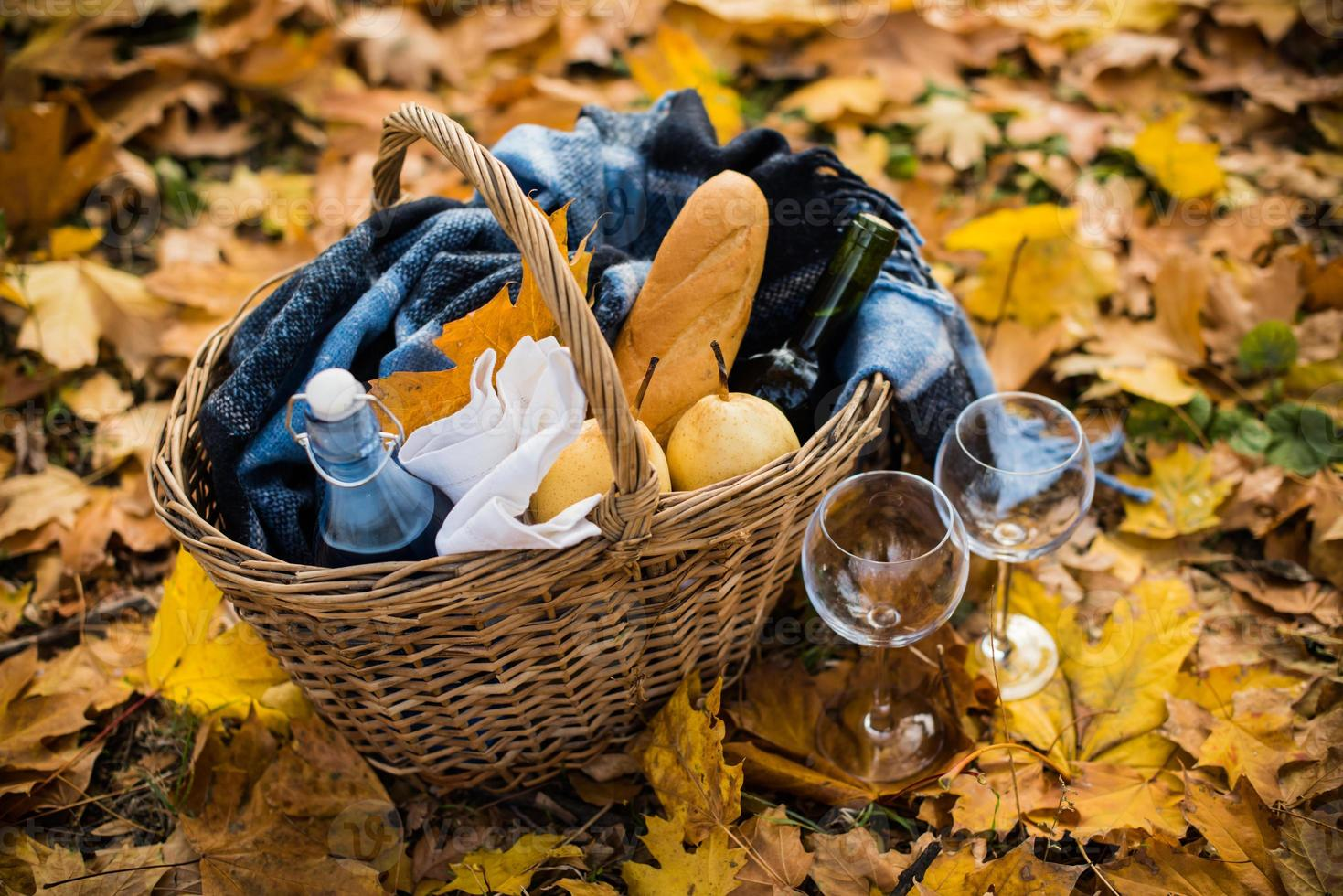 acolhedor piquenique de outono foto