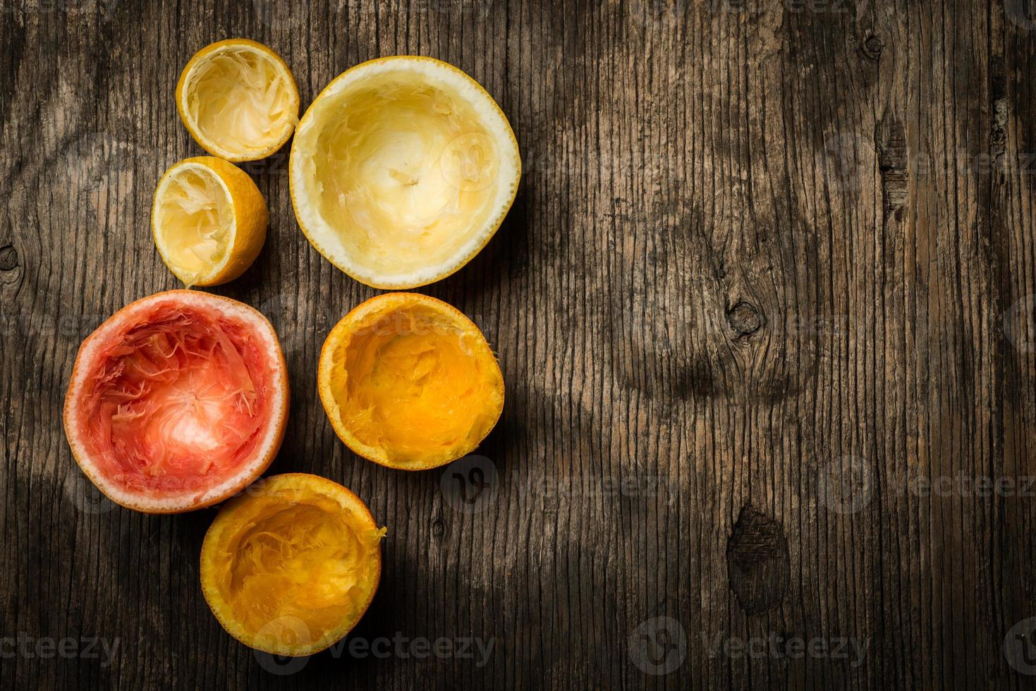 citrinos espremidos, vista superior foto