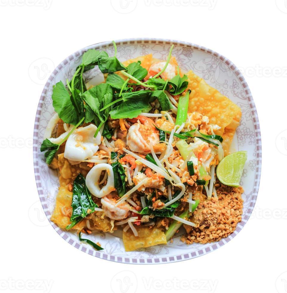 frutos do mar crocantes padthai famosa comida tailandesa foto