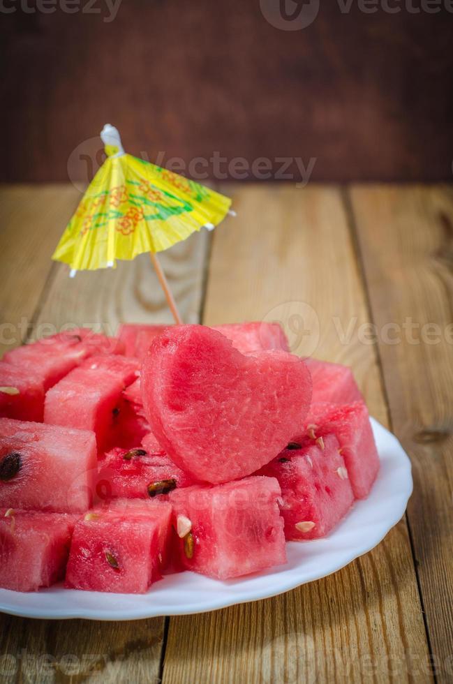 coração da melancia fatias de melancia foto