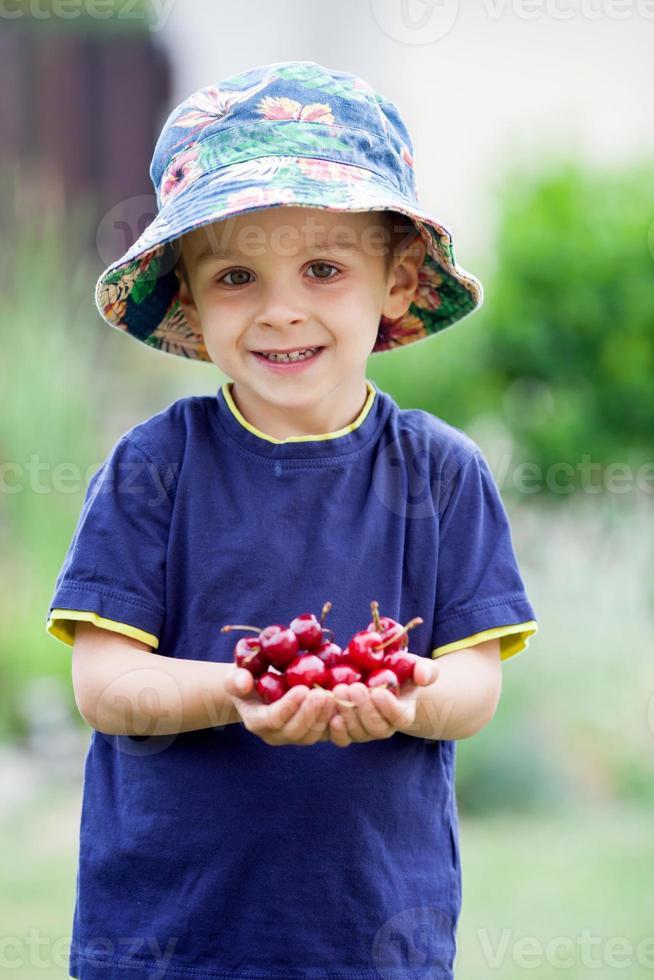 menino adorável, segurando cerejas foto