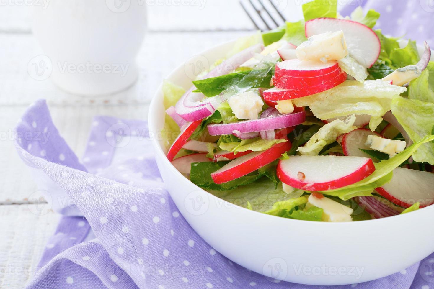 salada primavera com rabanetes e queijo foto
