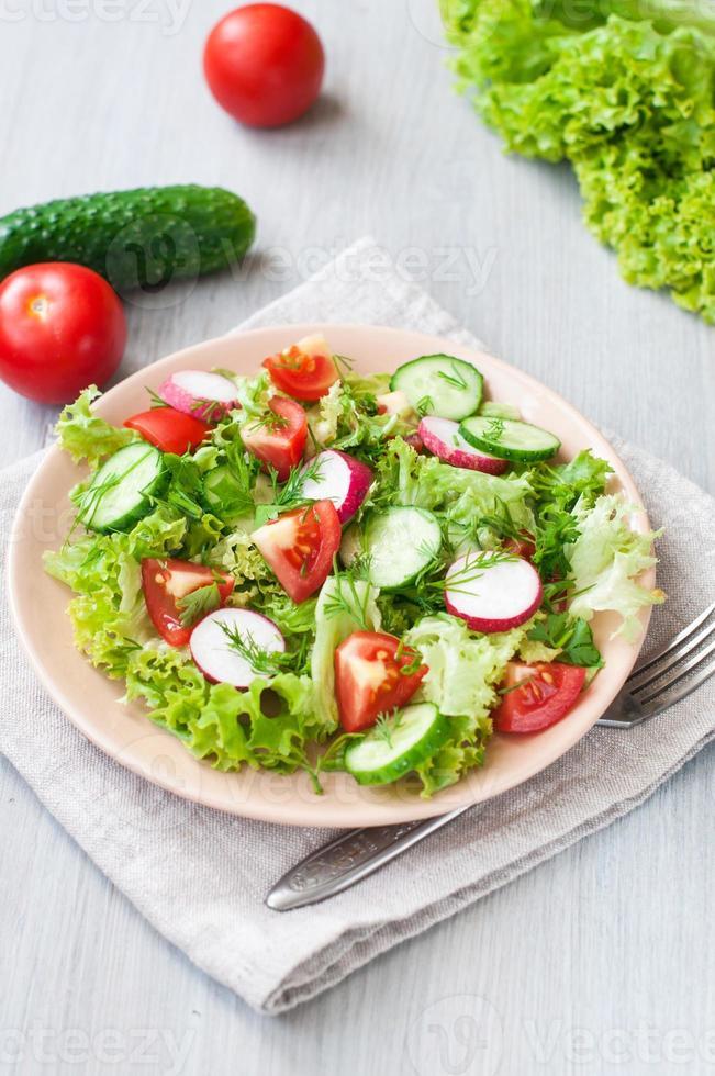 salada de tomate e pepino com folhas de alface foto