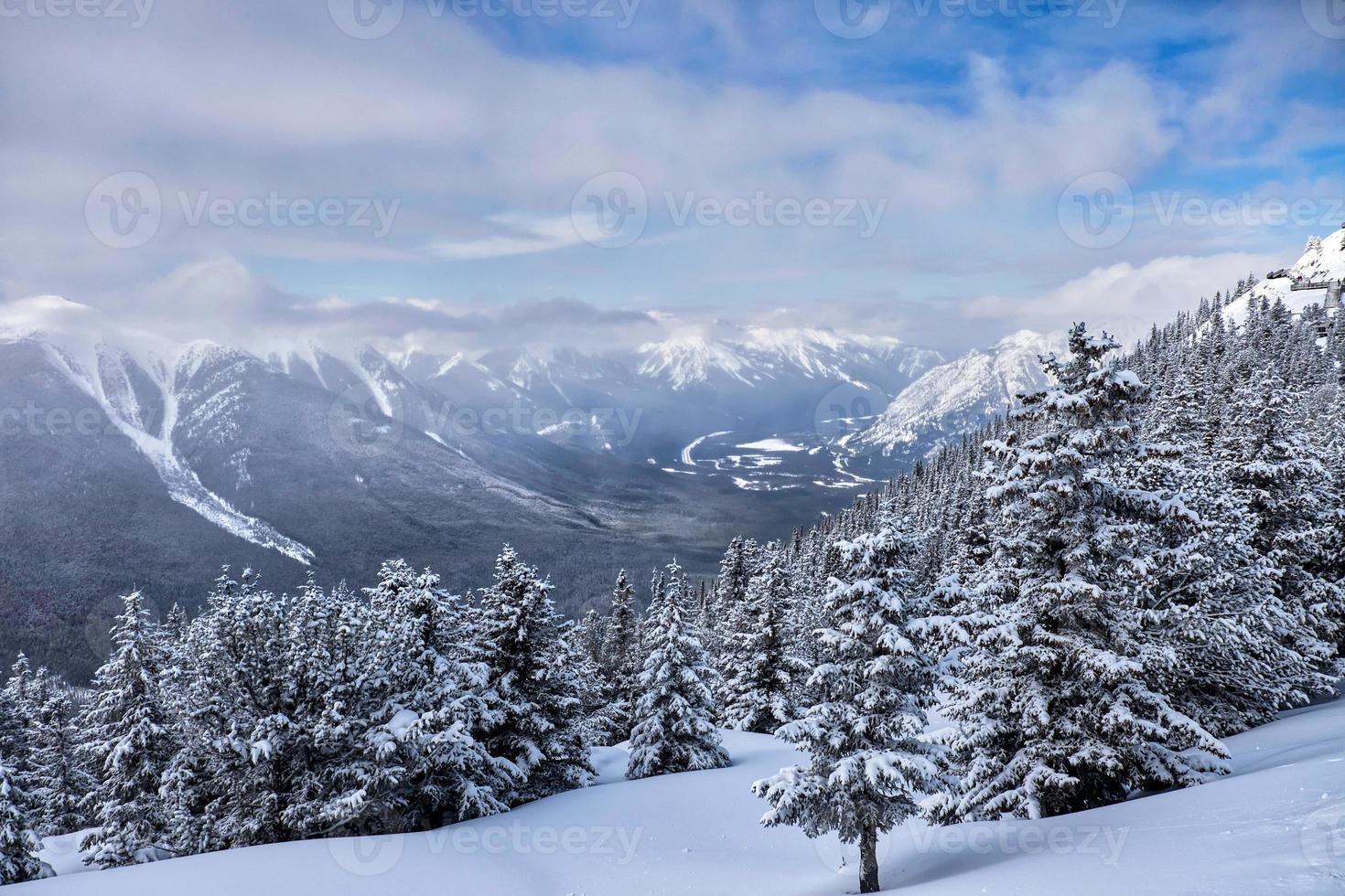 paisagem de árvores e montanhas de neve do inverno foto