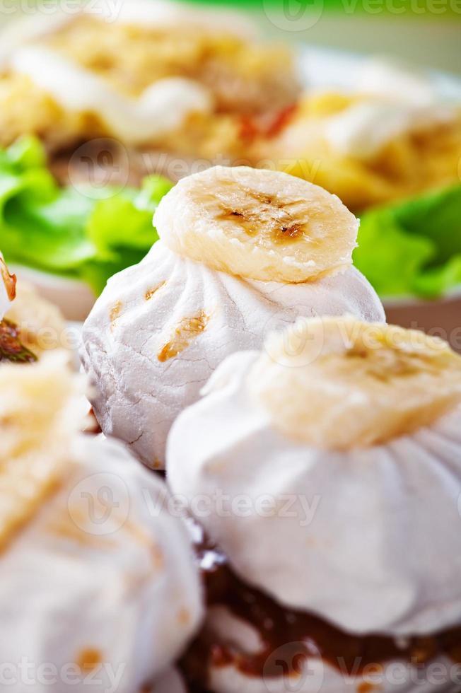 marshmallows decorados de banana foto