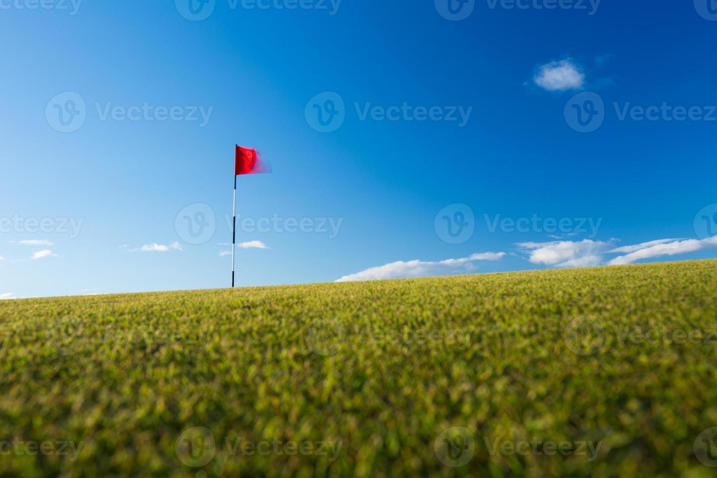 bandeira de golfe vermelho em um verde foto
