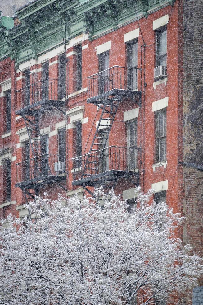 infernos, cozinha, predios, neve, coberto, árvore, inverno, nova iorque foto