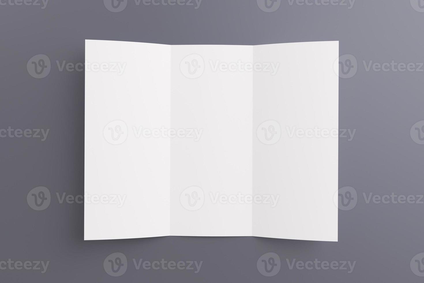 em branco aberto brochura dobrável em três partes isolada em cinza foto