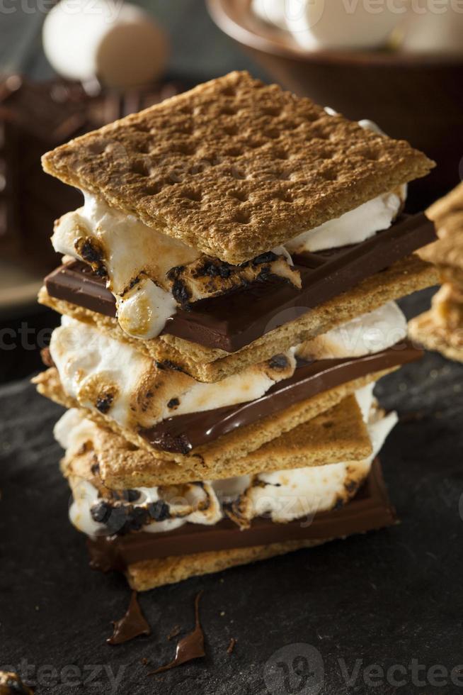 s'mores com marshmallows de chocolate e biscoitos foto