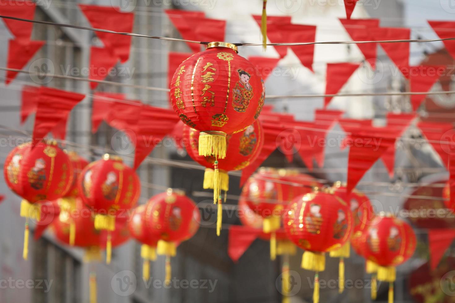 lanternas no dia do ano novo chinês foto