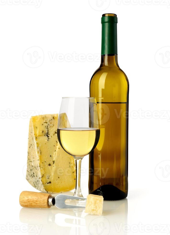 vinho branco e queijo foto