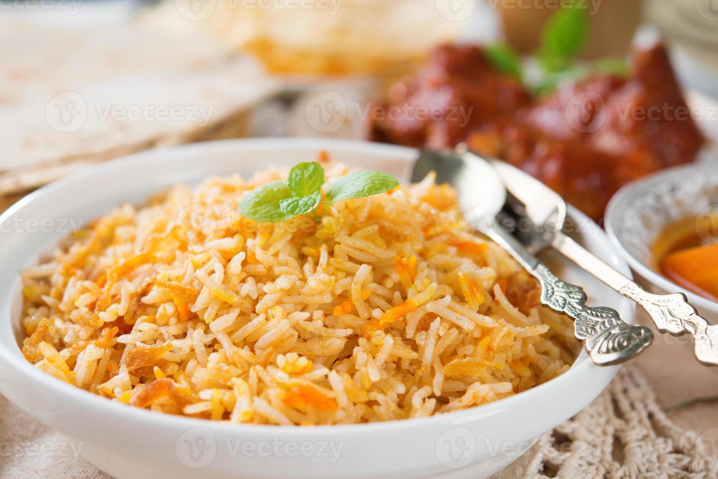 arroz indiano cozido fresco foto