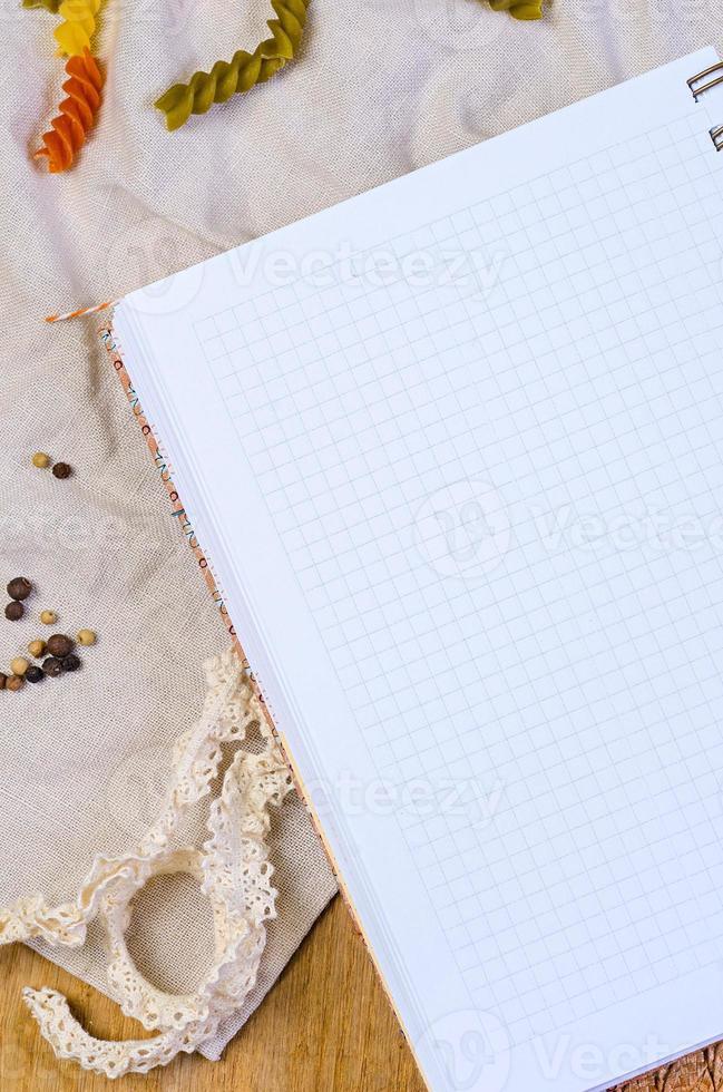 caderno de receitas foto