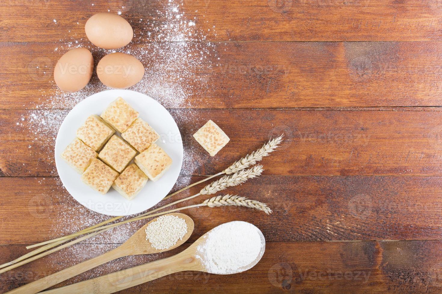 ingredientes da receita e cozinha foto