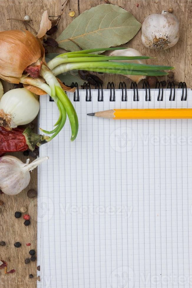 caderno para escrever receitas com especiarias foto