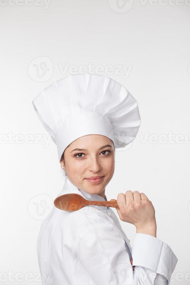 jovem chef feminino foto